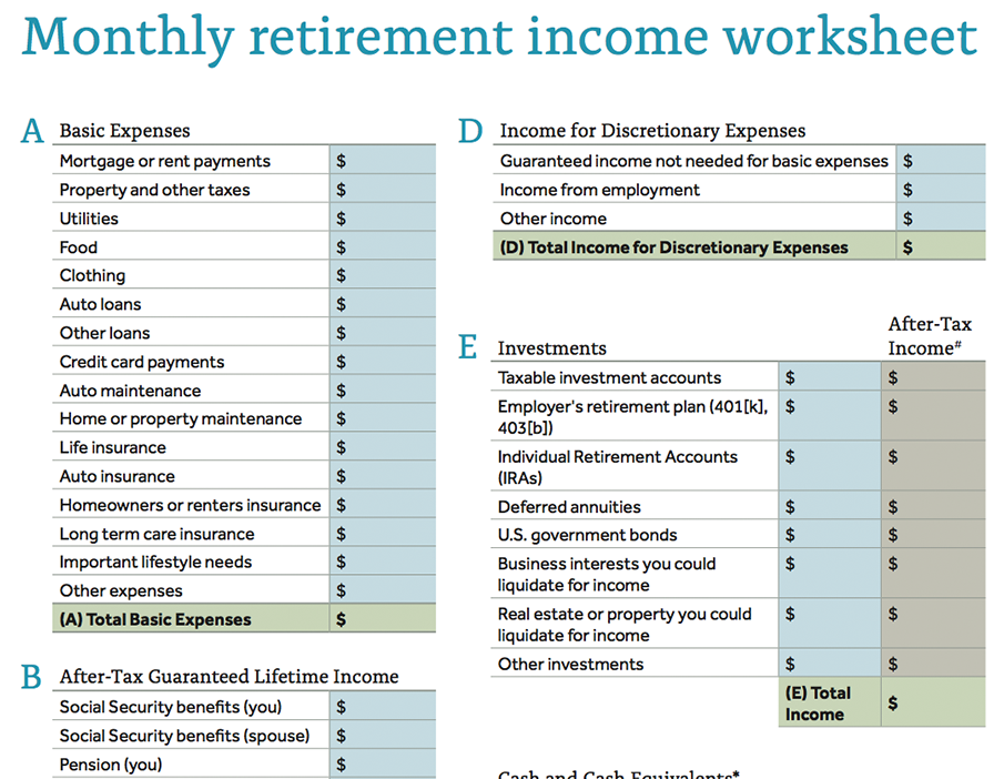 Monthly Retirement<br> Income Worksheet