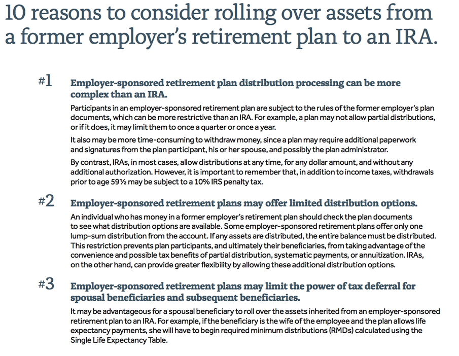 10 Reasons to Rollover Assets<br> from an Old Employer